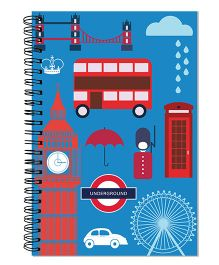 Little Jamun Spiral Notebook London Theme - Blue