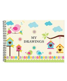 Little Jamun Birds Print Sketchbook - White
