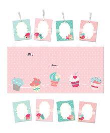 Little Jamun Cupcake Themed Envelopes Stickers Gift Tags Multicolor - Set of 20