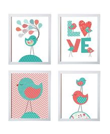 Little Jamun Love Bird Frames Multicolor - Set of 4