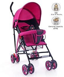 Babyhug Agile Baby Light Weight Stroller Buggy With Umbrella Fold - Pink & Black
