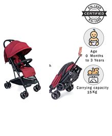 Babyhug Easy Travel Cabin Stroller With Z-Fold & Trolley Handle - Red