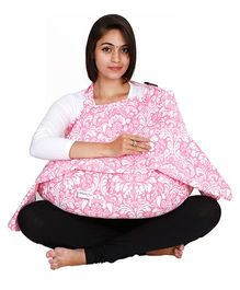 Lulamom Damask Nursing Cover And Feeding Pillow Combo - Pink