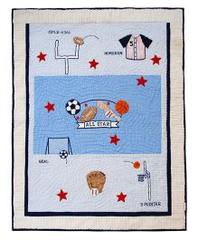 Abracadabra Cotton Cot Quilt Sports Theme Patch  - Blue