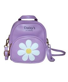 Abracadabra Faux Leather Bag Daisy Patch Purple - 9 Inches