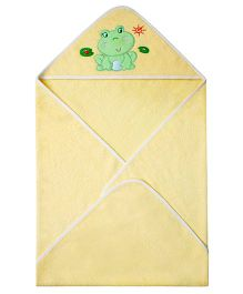 Abracadabra Hooded Towel Frog Embroidery - Yellow