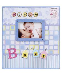 Baby Photo Checks Print Album - Blue