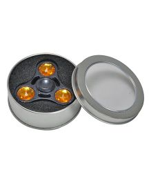 Magic Pitara Tri-Fidget Spinner with Metal Box - Metallic Gray, Golden