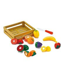 Webby Fruit Vegetable Play Food With Tray And Knife - Multicolor