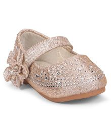Cute Walk by Babyhug Studded Belly Shoes With Flower Motif - Golden