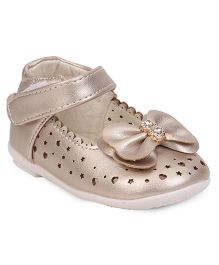 Cute Walk by Babyhug Party Wear Belly Shoes Bow Applique - Golden