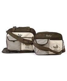 Diaper Bag Set With Changing Mat Stripe Print Pack Of 2 - Brown