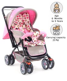 Babyhug Comfy Ride Stroller With Reversible Handle - Pink