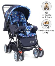Babyhug Comfy Ride Stroller With Reversible Handle - Blue