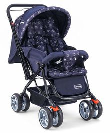 Babyhug Comfy Ride Stroller With Reversible Handle - Dark Blue