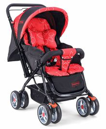 Babyhug Comfy Ride Stroller With Reversible Handle - Red