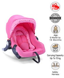 Babyhug Onyx Car Seat Cum Carry Cot With Rocking Base - Pink