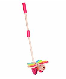 Hape Wooden Butterfly Push & Pull Walking Toy - Multicolor