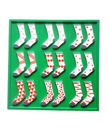 Skola Wooden Sock Twins Patterns Pair Match & Learn Toy - 9 Pair Of Socks
