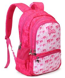 Barbie School Bag Floral Print Pink White - Height 19 Inches