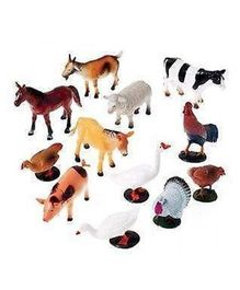 VibgyorVibes Domestic Animals Figure Pack Of 12 - Multicolor (Animals May Vary)