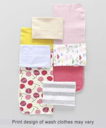 Babyhug Printed Wash Cloths Pack of 8 - Multi Color