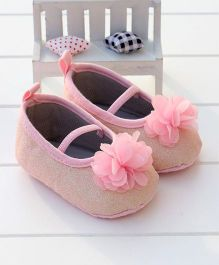 Little Hip Boutique Shimmer Flower Booties - Pink