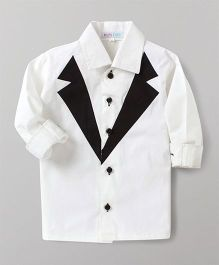 Kidsclan Party Wear Full Sleeves Shirt Tuxedo Style - White