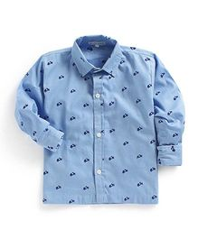 Kidsclan Full Sleeves Shirt Scooter Embroidery - Light Blue