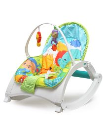 Flyers Bay Bouncer Cum Rocker With Toy Bar Animal Print - Blue Green