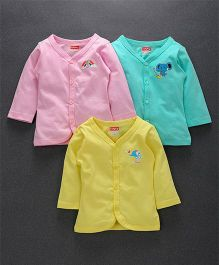Babyhug Full Sleeves Cotton Vest Pack of 3 - Pink Yellow Sky Blue
