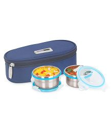 Steel Lock Food Storage Containers Set of 2 With Insulated Bag - Silver Blue