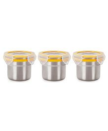 Steel Lock Airtight Food Storage Containers Set of 3 - 180 ml each (Color May Vary)