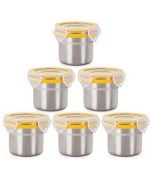 Steel Lock Airtight Food Storage Containers Set of 6 - 180 ml each (Color May Vary)