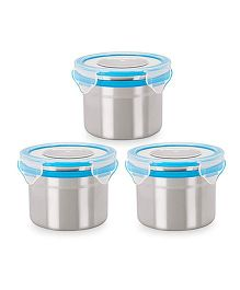 Steel Lock Airtight Food Storage Containers Set of 3 - 350 ml each (Color May Vary)