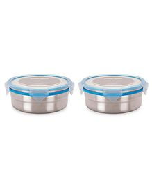 Steel Lock Airtight Food Storage Containers Set of 2 - 700 ml each (Color May Vary)