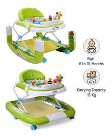 Babyhug Little Footsteps Walker Cum Rocker With 2 Level Height Adjustment - Green