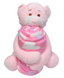 Babies Bloom Fleece Blanket With Soft Toy - Pink