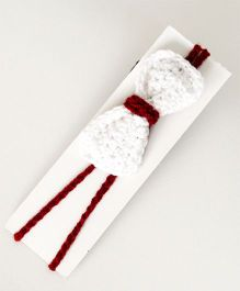 Love Crochet Art Handmade Bow Design Headband - White