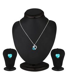 Angel GlitterCombining Two Heart Together Necklace Set - Blue