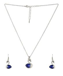 Angel GlitterDuck With Heart Crystal Necklace Set - Dark Blue