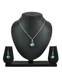 Angel GlitterDuck With Heart Crystal Necklace Set - Blue