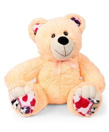 Liviya Teddy Bear Printed Bow Soft Toy Cream - Height 43 cm