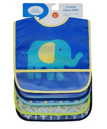 Abracadabra Waterproof Bibs with Pocket Pack of 5 - Blue