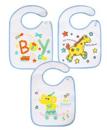Abracadabra Bibs With Velcro Closure Pack of 3 - White & Blue