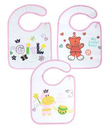 Abracadabra Bibs With Velcro Closure Pack of 3 - White & Pink