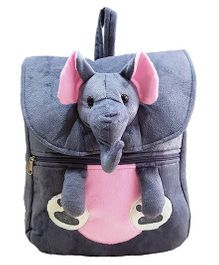 Ultra Elephant Applique Plush School Bag Grey - 14 Inches