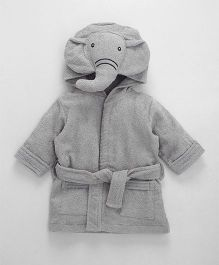 Babyhug Full Sleeves 3D Hooded Bathrobe Elephant Design - Light Grey