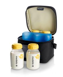 Medela Cooler Bag With Ice Pack & 4 Breast Milk Bottles - 150 ml Each