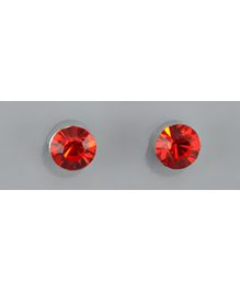 Angel Glitter - Ruby Red Tone Encircled CZ Solitaire Diamond Earrings